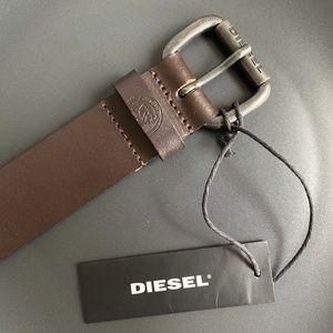 New DIESEL Men's Buffalo Leather Belt Dark Brown
